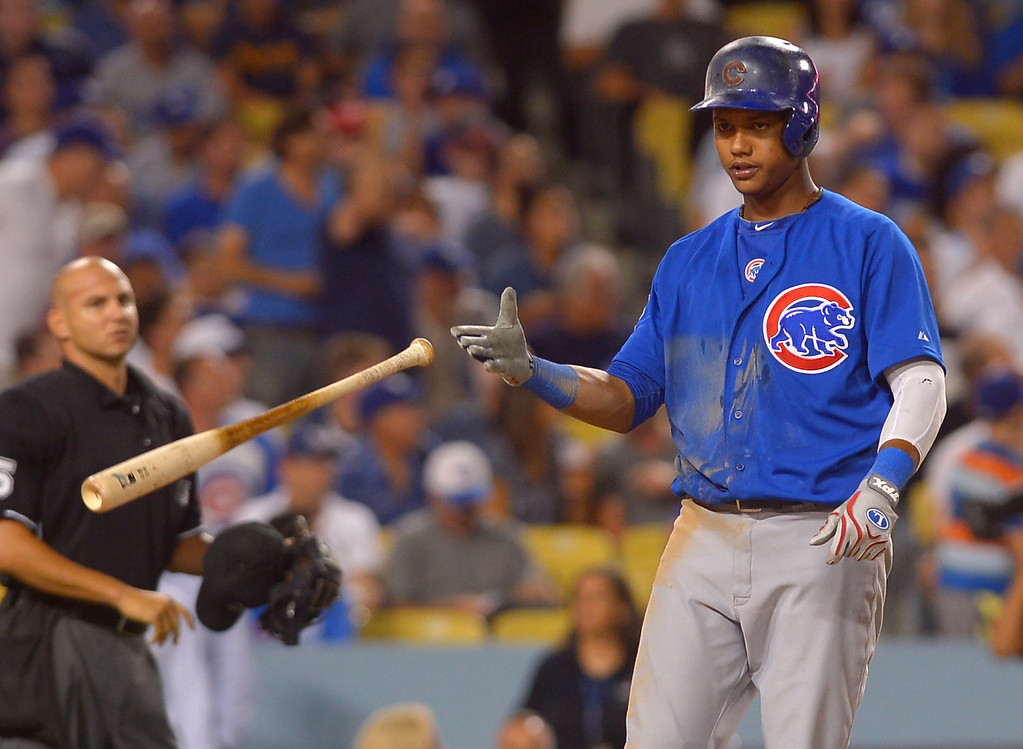 . Starlin Castro of the Chicago Cubs tosses his bat after striking out against Zack Greinke August 26, 2013 in Los Angeles, CA.(Andy Holzman/Los Angeles Daily News)