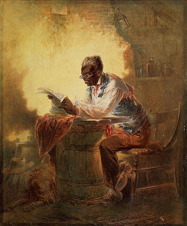 ". Man reading a newspaper with headline, ""Presidential Proclamation, Slavery,\"" which refers to the Jan. 1863 Emancipation Proclamation. 	Stephens, H. L. (Henry Louis), 1824-1882, artist.   Library of Congress"