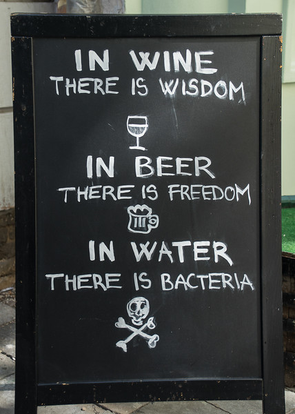 My sentiments, exactly. In front of a bar in Bratislava, Slovakia.
