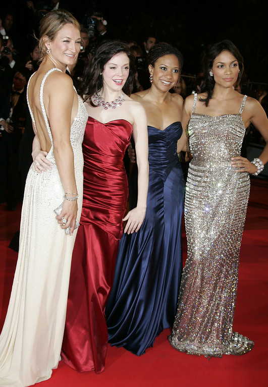 ". From left, New Zealand actress Zoe Bell, actress Rose McGowan, Tracie Thoms, and Rosario Dawson arrive for the screening of the film ""Death Proof,\"" at the 60th International film festival in Cannes, southern France, on Tuesday, May 22, 2007. (AP Photo/Kirsty Wigglesworth)"