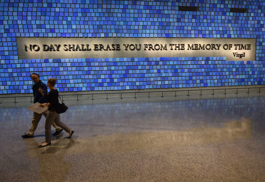 . A quote from Virgil seen during a press preview of the National September 11 Memorial Museum at the World Trade Center site May 14, 2014 in New York. AFP PHOTO/Stan HONDA/AFP/Getty Images