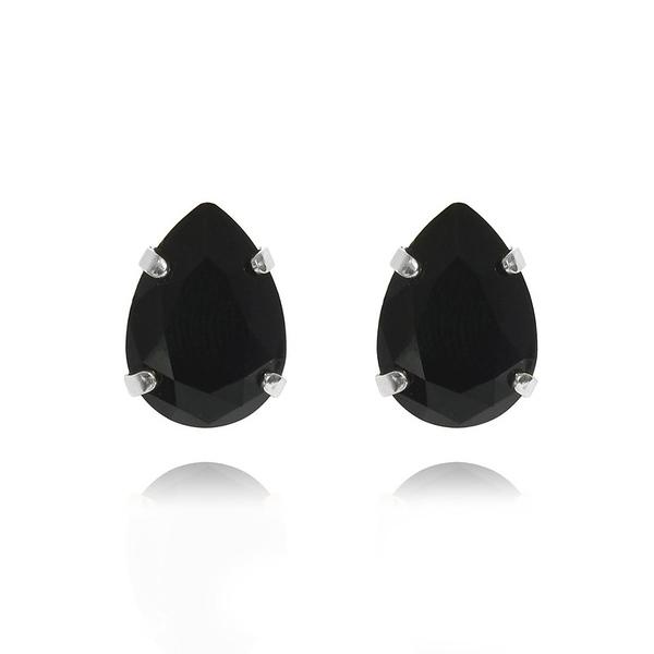 Mini Drop Stud Earrings / Jet Rhodium