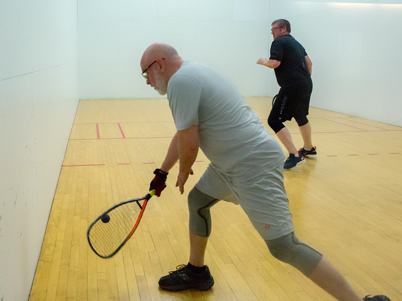 Kelly King taking a backhand shot vs Robby Gunther, Kelly took the win in the first tournament of the Alaska Racquetball season by taking out the 2017 State Champion.