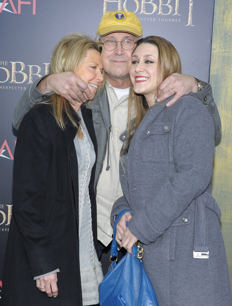 "Description of . Jayni Chase, Chevy Chase, and Cydney Cathalene Chase attend ""The Hobbit: An Unexpected Journey\"" New York premiere benefiting AFI at Ziegfeld Theater on December 6, 2012 in New York City.  (Photo by Michael Loccisano/Getty Images)"