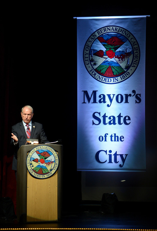 . Mayor Pat Morris gives his final State of The City address at the Sturges Center for the Fine Arts in San Bernardino, CA, Tuesday, October 8, 2013. (Jennifer Cappuccio Maher/Inland Valley Daily Bulletin)