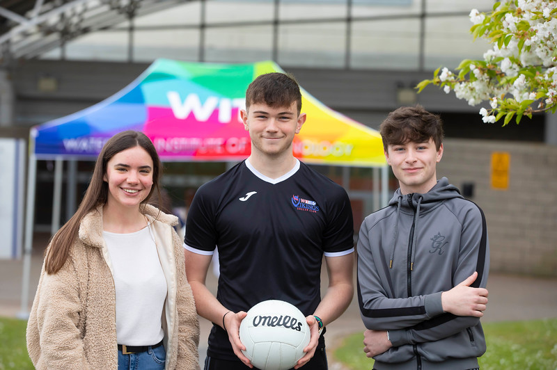 30/03/2019. FREE TO USE IMAGE. Thousands of CAO, part-time and postgraduate applicants visited WIT's Spring open events on Friday evening and Saturday morning. WIT is Ireland's top ranked institute of technology. Pictured are Amy McMahon Wexford town, Darryl Walsh WiT Viking scholarship student and Rory Griffin Rosslare. Picture: Patrick Browne