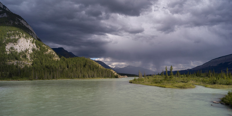 Clouds over Athabasca River, Yellowhead Highway, Jasper National Park, Jasper, Alberta, Canada