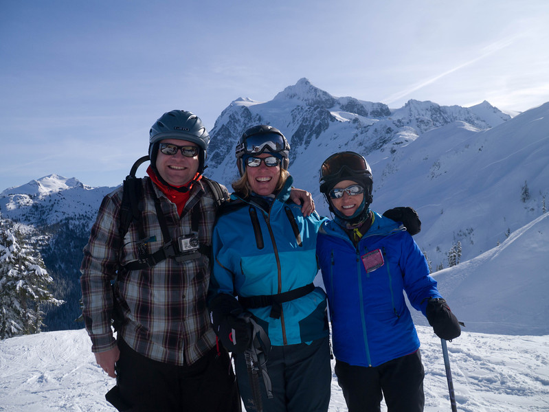 Sean, Susan, and Marla at Mt Baker Ski Area in February
