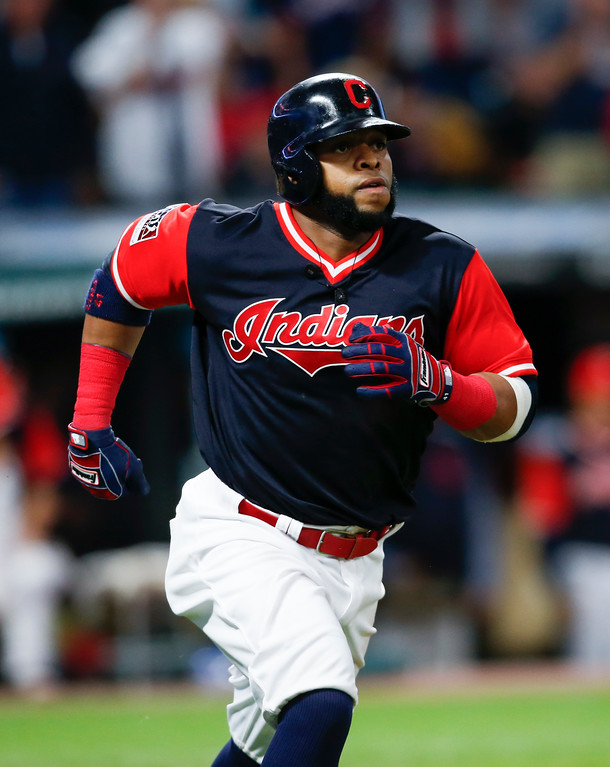 . Cleveland Indians\' Carlos Santana rounds the bases after hitting a solo home run off Kansas City Royals starting pitcher Jason Hammel during the seventh inning in a baseball game, Saturday, Aug. 26, 2017, in Cleveland. (AP Photo/Ron Schwane)