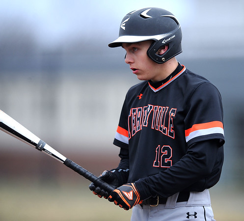 4/11/2019 Mike Orazzi | Staff Terryville's Colby Rheault (12) during Thursday's baseball game with Thomason at Terryville High School.