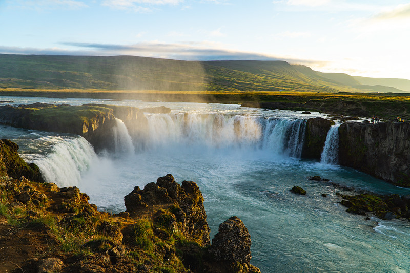Goðafoss Waterfall at Sunset in Iceland