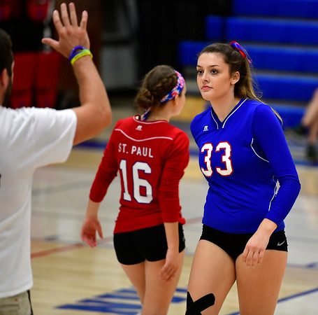 10/11/2019 Mike Orazzi | StaffrSt. Paul's Kelsi Blatchley (33) during Thursday night's girls volleyball match in Bristol.