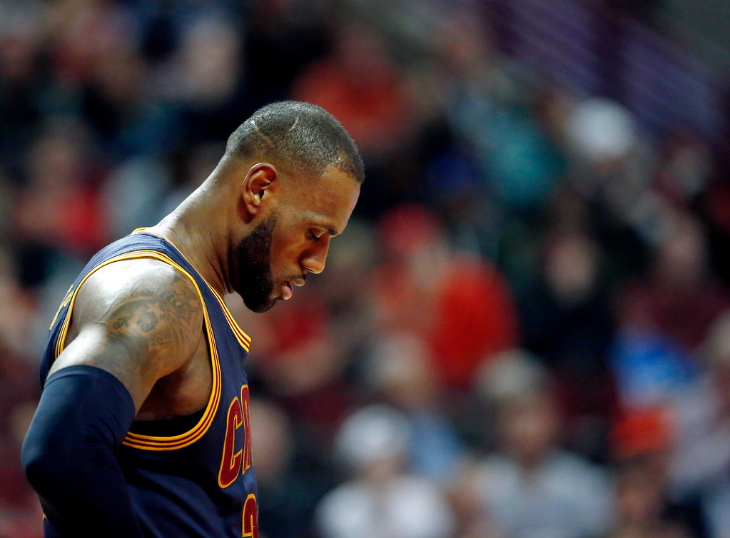. Cleveland Cavaliers forward LeBron James looks down during the second half of an NBA basketball game against the Chicago Bulls Thursday, March 30, 2017, in Chicago. The Bulls won 99-93. (AP Photo/Nam Y. Huh)