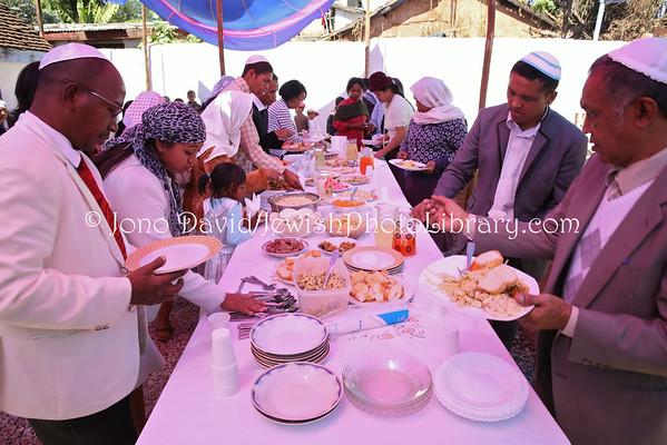 MADAGASCAR, Antananarivo, Ambohitrarahaba. Beit HaTefilah Israel, Shabbat kiddush, Saturday, August 2, 2014 (8.2014)