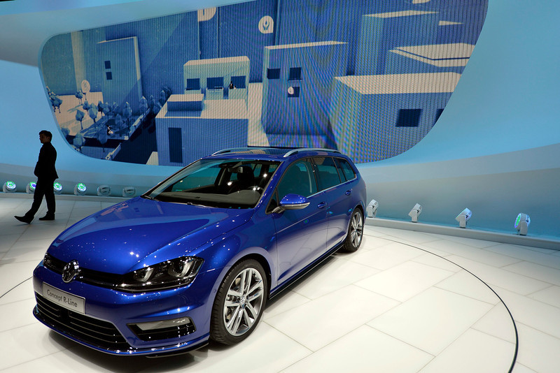 . The new Volkswagen Prototype Golf R-Line is shown during the press day at the 83rd Geneva International Motor Show in Geneva, Switzerland, Tuesday, March 5, 2013. The Motor Show will open its gates to the public from 7th to 17th March presenting more than 260 exhibitors and more than 130 world and European premieres. (AP Photo/Keystone, Martial Trezzini)