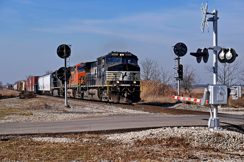 Fast NS eastbound, on the CFE North Robinson OH. On the old Pennsy mainline.
