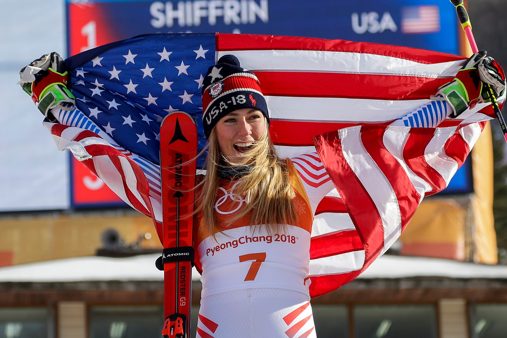 . Mikaela Shiffrin, of the United States, celebrate her gold medal during the venue ceremony at the Women\'s Giant Slalom at the 2018 Winter Olympics in Pyeongchang, South Korea, Thursday, Feb. 15, 2018. (AP Photo/Morry Gash)