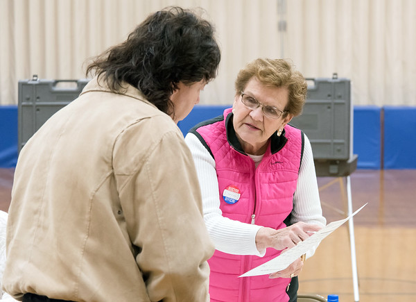 11/06/18 Wesley Bunnell | Staff A voter at Willard Elementary School's voting location is assisted by Ballot Clerk Judith D'Onofrio on Tuesday night.