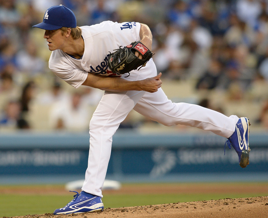 . Zack Greinke pitches in the 3rd inning. The Dodgers played the Colorado Rockies at Dodger Stadium in Los Angeles, CA. 6/18/2014(Photo by John McCoy Daily News)