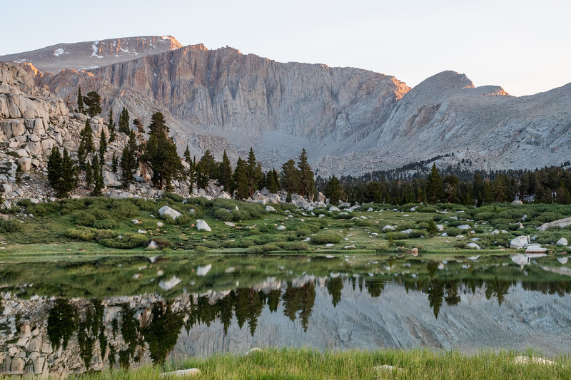 First light on the 14,042 ft Mount Langley, partially reflected in Lake No. 2.