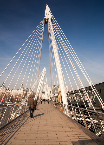 Pedestrians crossing London's Jubilee Bridge