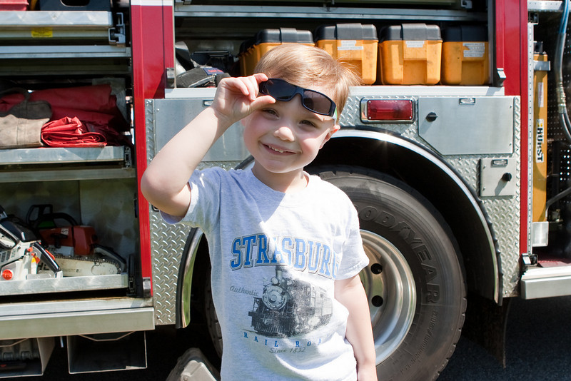 The fire truck (which had a leaf blower) was KC's favorite at Touch a Trucck