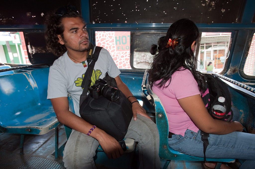 . Mexican journalists are under siege throughout the country both from organized crime and abusive government authorities. Reporters and photographers at El Sur newspaper in Acapulco take various precautions to deal with the threats they receive. Moving from one daily assignment to another, Carlos Carbajal, a photographer at El Sur newspaper in Acapulco, Guerrero, uses public transportation such as the city bus he is riding here. (Keith Dannemiller/MCT)