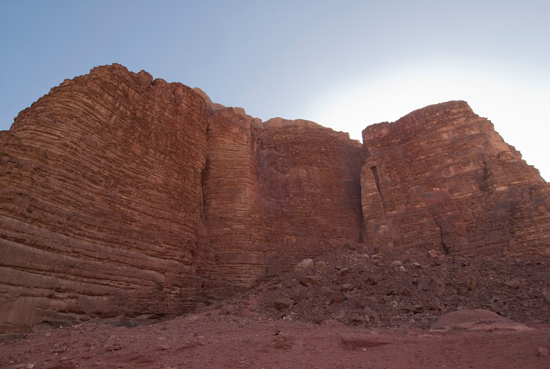 Desert and the Seven Pillars of Wisdom rock formation in Wadi Rum, Jordan