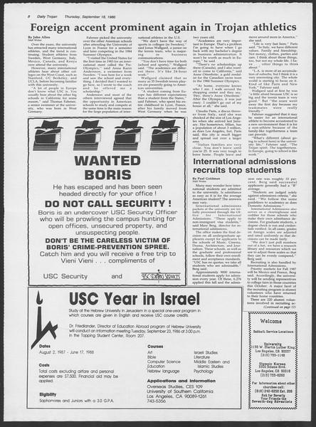 Daily Trojan, Vol. 102, No. 13, September 18, 1986