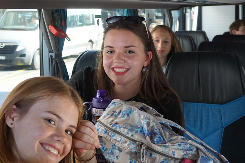 Emma, Hannah, and Ellie in the bus