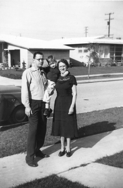 This was taken in California in 1952, and I'd bet that this was the visit from Vince that lives on in family lore: he said I could drive back to Chicago with him, and I accepted. Everyone thought that I'd panic and ask to return home so they let us leave. No such luck-- apparently I was up for a long road trip with my uncle-- and Vince had to turn the car around and return back to Long Beach and my parents over my protests.