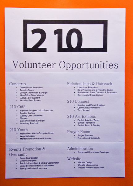 Photos from 210 Grand Opening 3-30-2008.   List of jobs available for volunteers.