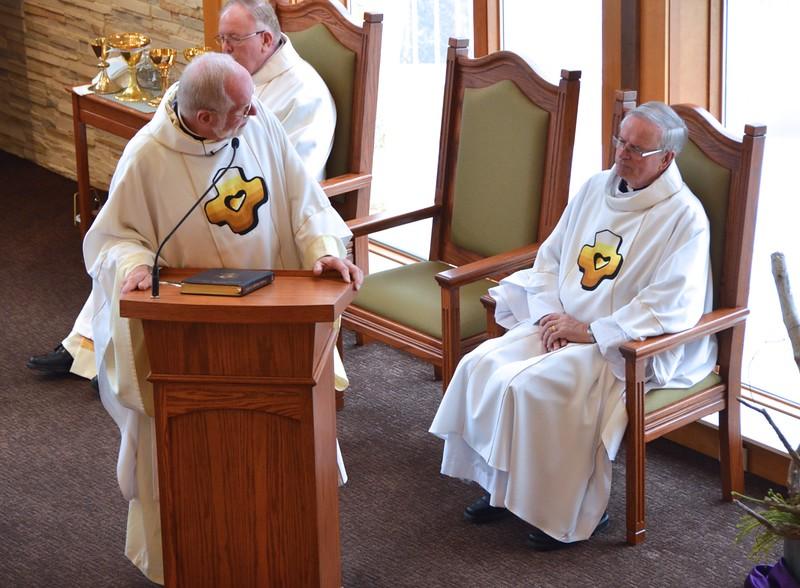 Fr. Ed thanks Fr. John van den Hengel for joining them at the funeral mass; Fr. John is regional superior of Canada