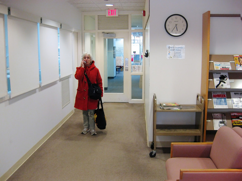 Lyn makes a call in the recent periodicals room; I take a photograph of her. Which is the greater trespass?