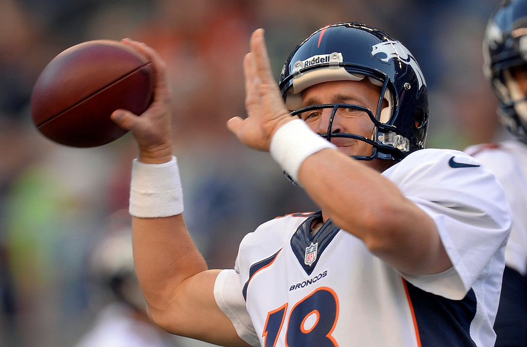 . SEATTLE, WA. - AUGUST 17: Denver Broncos quarterback Peyton Manning (18) throws a pass during warmups before their game against the Seattle Seahawks August 17, 2013 at Century Link Field. (Photo By John Leyba/The Denver Post)