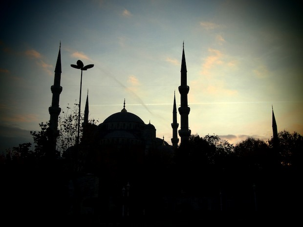 The Blue Mosque against a darkening sky
