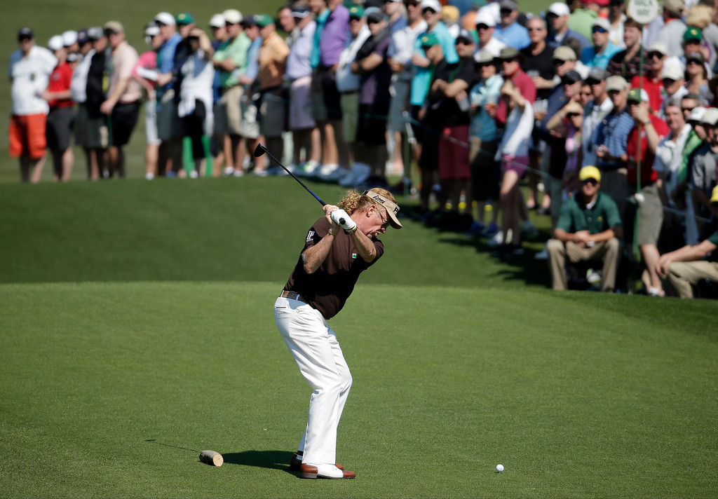 . Miguel Angel Jimenez, of Spain, tees off on the third hole during the third round of the Masters golf tournament Saturday, April 12, 2014, in Augusta, Ga. (AP Photo/Chris Carlson)