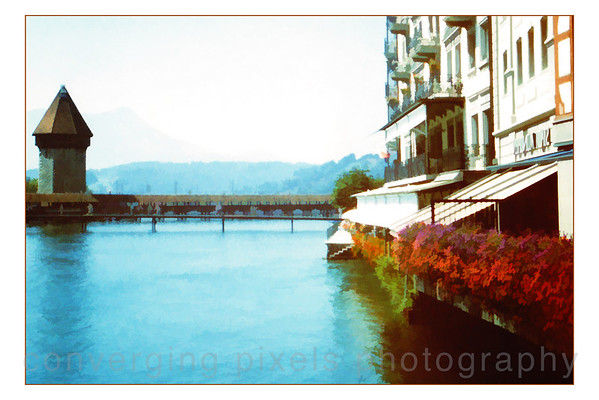 """Lucerne, Switzerland""  Chapel Bridge to the Water Tower in 1989, before it burnt down."