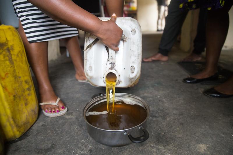 Monrovia, Liberia October 6, 2017 - Oil used to make soap at the REVSLA Vocational School Skill Training Center.