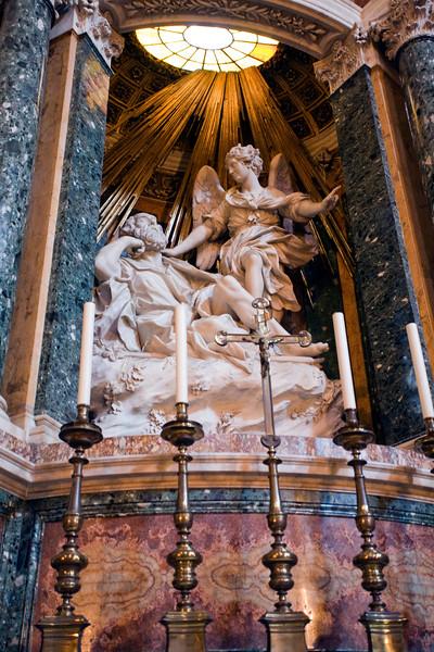 Saint Joseph's dream sculpture, by Domenico Guidi, 17th century, Santa Maria della Vittoria church, Rome