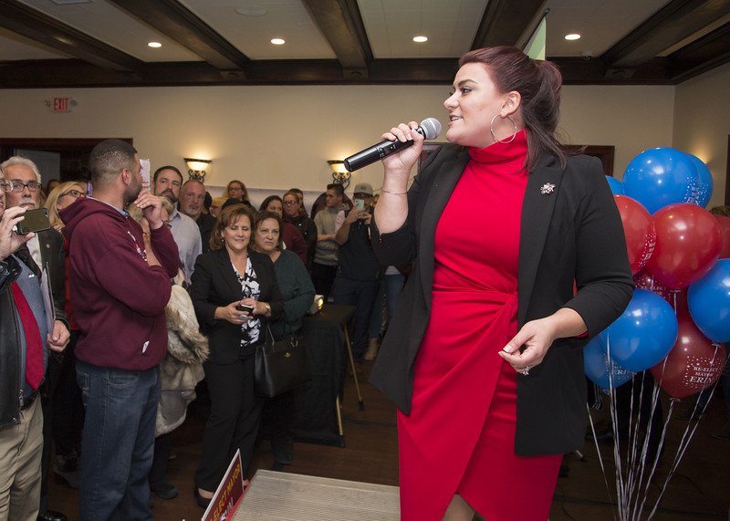 11/05/19  Wesley Bunnell | Staff  Candidates for public office running under the Team Stewart ticket gathered at the Back Nine Tavern at Stanley Golf Course on Tuesday evening to celebrate Stewart's victory and the Republicans taking back a majority of seats on the city council.  Stewart gives her celebratory speech.