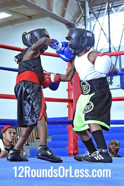 Bout 1 Ibrahim Mason, Red Gloves, DNA Level C B.C. -vs- Antione Dortch, Blue Gloves, Double Trouble, 60 lb Pee Wee Division Championship