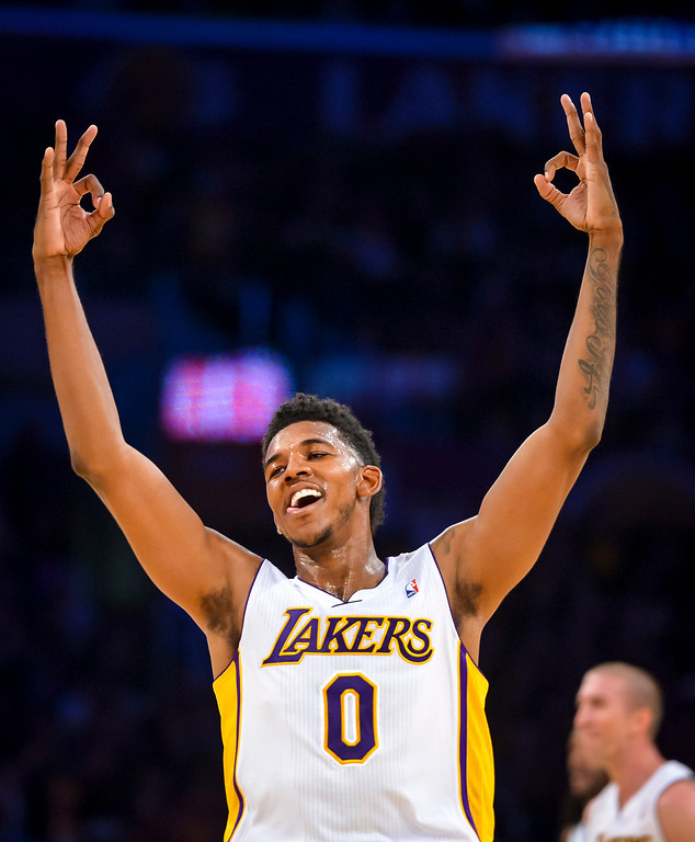 . Lakers� Nick Young celebrates a basket as the Lakers take a 10 point lead during second half action at Staples Center Sunday, November 17, 2013.  The Lakers defeated the Detroit Pistons 114-99.  ( Photo by David Crane/Los Angeles Daily News )