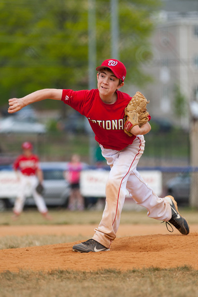 John pitching in the bottom of the 4th inning. The Nationals started out their season with a 4-1 win over the Pirates. 2012 Arlington Little League Baseball, Majors Division. Nationals vs Pirates (14 Apr 2012) (Image taken by Patrick R. Kane on 14 Apr 2012 with Canon EOS-1D Mark III at ISO 200, f2.8, 1/1600 sec and 168mm)