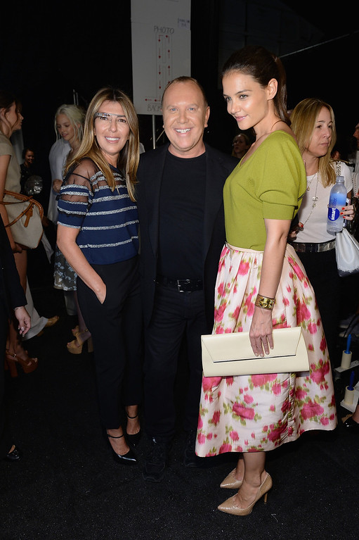 . (L-R) Nina Garcia, Michael Kors and Katie Holmes pose backstage at the Michael Kors fashion show during Mercedes-Benz Fashion Week Spring 2014 at The Theatre at Lincoln Center on September 11, 2013 in New York City.  (Photo by Dimitrios Kambouris/Getty Images for Michael Kors)