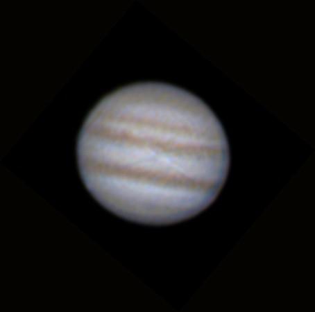 Jupiter 21.12.2012 cca. 4:30 - Skywatcher 130/650, Barlow 2x, MS Lifecam HD 5000, stack cca. 1500 nejlepších snímků