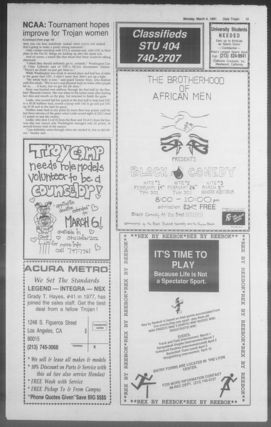 Daily Trojan, Vol. 114, No. 35, March 04, 1991