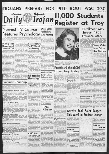 Daily Trojan, Vol. 46, No. 2, September 20, 1954