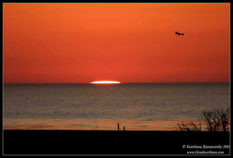Sunset seen from San Elijo Lagoon, Rios Ave, Remote Controlled Airplane flying around, San Diego County, California, December 2011