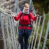 Anna crossing Kokatahi swingbridge